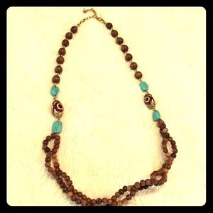 Jewelry - Wood beads and turquoise necklace
